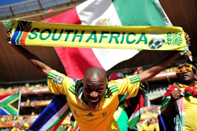 South Africa fan shows his support before the Opening ...